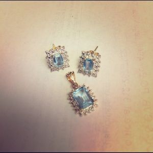 Blue Stone Earrings with Pendant