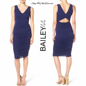 Bailey 44 Dresses & Skirts - NWT Bailey 44 indigo blue ruched dress w/ cut out