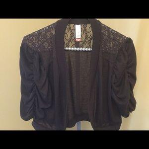 No Boundaries Sweaters - Brown Lace Shrug