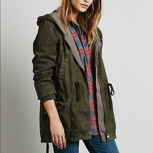 Free People - Solid Knit Mixed Cargo Army Jacket