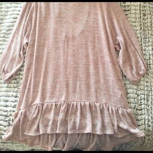 Blush/ivory Ruffle Open Back Blouse
