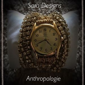 Authentic Sara Designs crystal wrap gold watch
