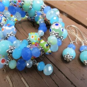 handmade Jewelry - Large Blue Green Coil Bracelet Jade Glass Crystals