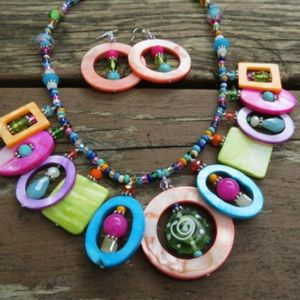 handmade Jewelry - Bright Colorful Shell Necklace Crystals Glass Jade