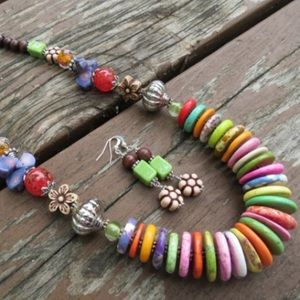 handmade Jewelry - Multi Colored Disc Necklace Wood Glass Crystals