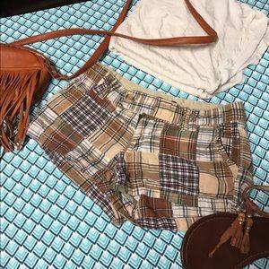 Pants - Chocolate and camel Plaid shorts
