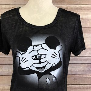 Disney Mickey Mouse Short Sleeve Burnout Tee XS C1