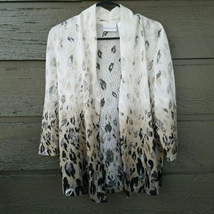 Alfred Dunner Sweaters - Alfred Dunner Leopard Print Ombre Cardigan