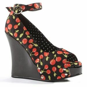 Ellie Shoes - Cherry Pinup Wedge Heels