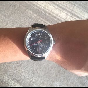 Timex Accessories - Leather strap large face watch