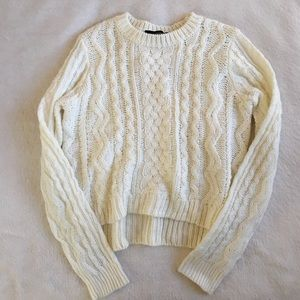 White Cable Knit Sweater from Forever 21, Sz Small