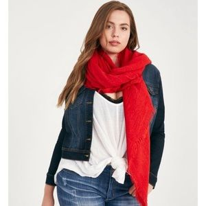 Accessories - NWT basic frayed edge blanket scarf in red