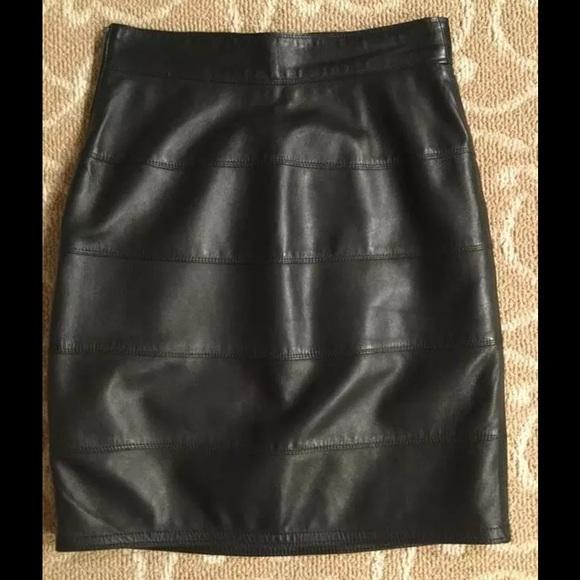 4e2353ac Gianni Versace Vintage Black Leather Skirt Size 38