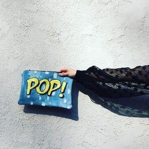 "Francesca's Collections Handbags - 👄PRICE FIRM👄 NWT Graphic Denim ""POP!"" Clutch"