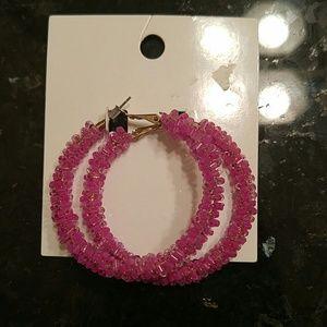 H&M beaded hoop earrings