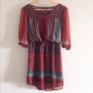 Be Bop Juniors Aztec Print Peasant Dress