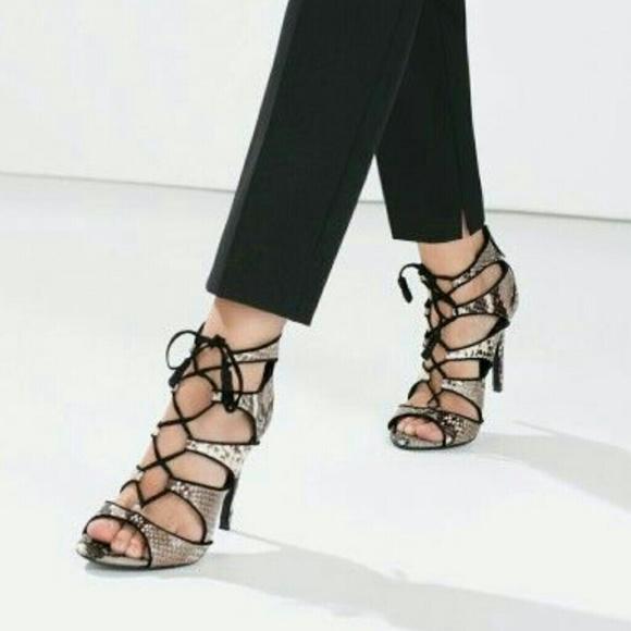 75f86d8152f ⭐ 2 for $22 ⭐ Zara snakeskin lace up heels