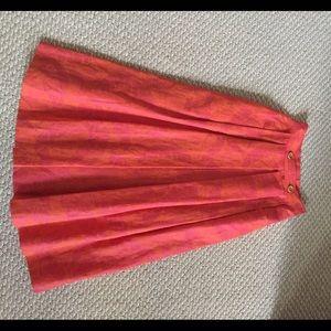 Christian Dior cotton ramie skirt orange pink sz 6