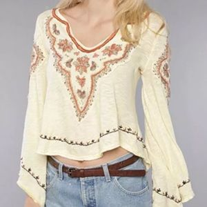 Size XS Free People Yellow Bell Sleeve Hippy Top