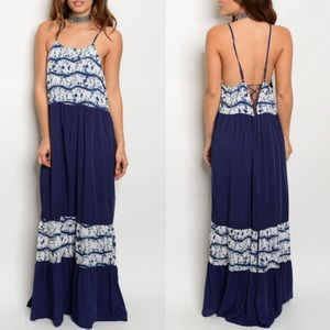 ADELYNE lace up back maxi dress -NAVY