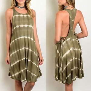 ROSELYN t-back lace up dress - OLIVE