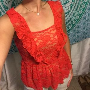 Candie's Tops - See through, rose lace party top