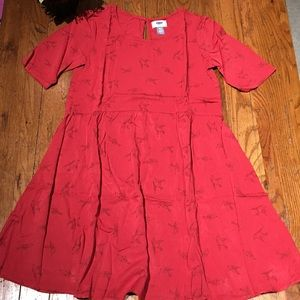 🌺Old Navy red babydoll sparrow dress