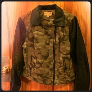 Ashley Graham Jackets & Blazers - Very cute camo/faux leather jacket.