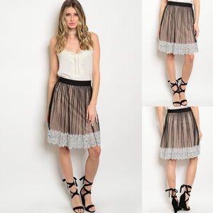 Black & Ivory Pleated Lace Hem Ruffle Midi Skirt