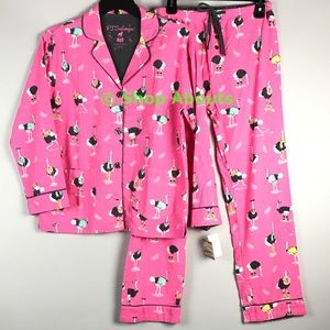 PJ Salvage Other - New PJ Salvage Pink Flannel Pajamas, Silly Ostrich