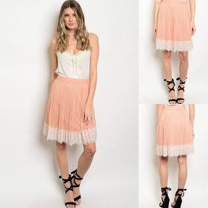 Peach & Ivory Pleated Lace Hem Ruffle Midi Skirt