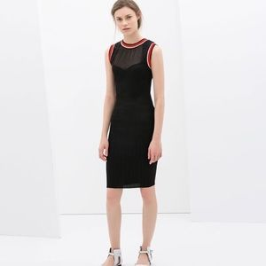{zara} mesh neckline with edging sheath dress
