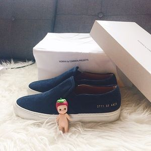 Common Projects Shoes - Common Projects Suede Sneakers, IT37, dark blue