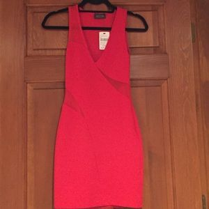 NWT ASTR red cutout and mesh bodycon dress size XS