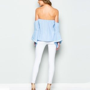 Tops - Off The Shoulder Soft Blue Ruffle Top, Bell Sleeve