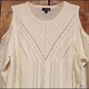 a.n.a Sweaters - Cream Cable Knit Shoulder Cut-Out Sweater
