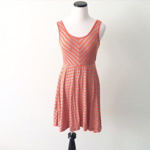 BAR lll Orange gray striped sleeveless Dress