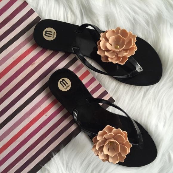7731e492902 Melissa Harmonic Flower Flip Flop Thong Sandal. M 58baff41b4188efcb601245b
