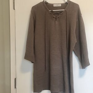 Dresses & Skirts - Cocoa lace up ribbed sweater dress knit