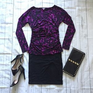 Vince Camuto Animal Print Blouse Purple Small