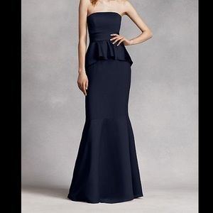Vera Wang Dresses - Blue Satin Peplum Vera Wang Bridesmaid Dress