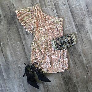 As U Wish Rose Gold Sequin 1 Shoulder Mini dress