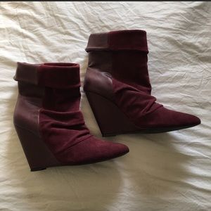 Shoemint Shoes - Wine suede leather wedge booties
