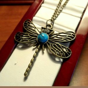 DRAGONFLY Sweater Necklace Turquoise & Brassy 26""