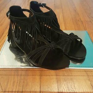 Sigerson Morrison Shoes - Sigerson Morrison Sz 8 Black Fringe Suede Sandals