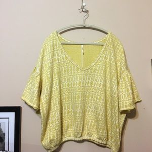 Free People Tops - Free people loose fit yellow and white top