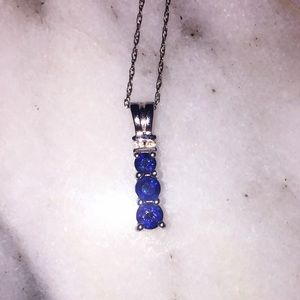Three Stone Sapphire Necklace (10k White Gold)
