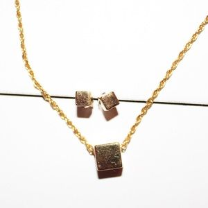 Jewelry - Stud gold cube earrings and gold cube necklace