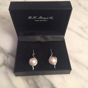Cultured Freshwater Pearl Drop Earrings (Silver)
