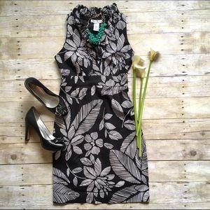 London Times black & white palm print dress